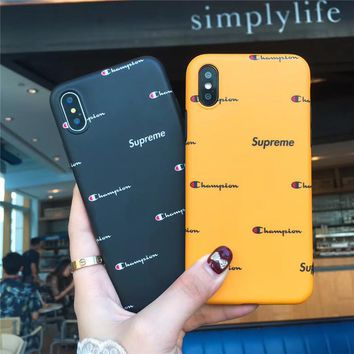 CHAMPION& Supreme Popular Women Men Personality Case For iPhone 6 6s 6plus 6s-plus 7 7plus iphone 8 iphone X XS Max XR