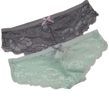 """Nicole"" All Lace Scallop Edge Cheeky Panties - Mint or Gray"