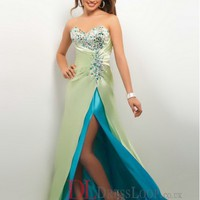 A-Line Strapless Elastic Woven Satin Sage Long Prom Dress/Evening Gowns With Beading VTC046