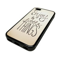 Apple iPhone 5C 5 C Case Cover Skin Enjoy The Little Things DESIGN BLACK RUBBER SILICONE Teen Gift Vintage Hipster Fashion Design Art Print Cell Phone Accessories