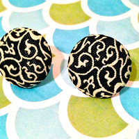 Fabric Button Earrings Black and Cream