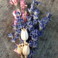 Handmade Wedding Boutonnieres Corsages - Lavender Boutonnieres, Lavender Corsages, Pink Larkspur, Florentine Pods, Hemp Rope, Rustic