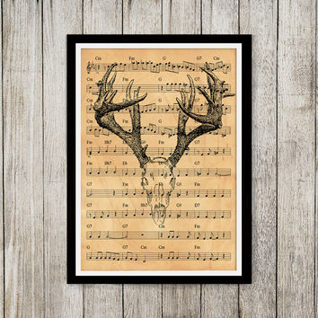 Antique poster Deer skull print Old paper print Anatomy decor NP093