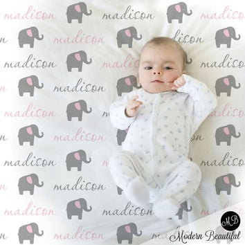 Elephant Name Blanket in pink and gray for Baby Girl, personalized baby gift, cursive script font, personalized blanket, choose colors