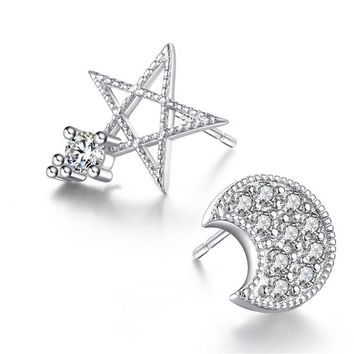 moon and stars 925 silver crystal tiny studs earrings gift box  number 1