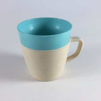 Vintage Raffiaware Turquoise Mug Retro Plastic Coffee Cup Blue And Ivory Stripe Thermo Temp Mug Vintage Kitchen Kitchenware