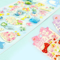 Buy Bow & Jewel Sponge Stickers - Blue Bear at Tofu Cute