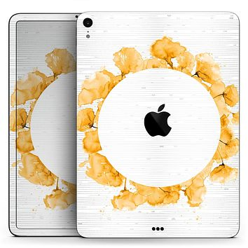 "Karamfila Yellow & Gray Floral V13 - Full Body Skin Decal for the Apple iPad Pro 12.9"", 11"", 10.5"", 9.7"", Air or Mini (All Models Available)"