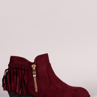Suede Back Fringe Block Heel Booties