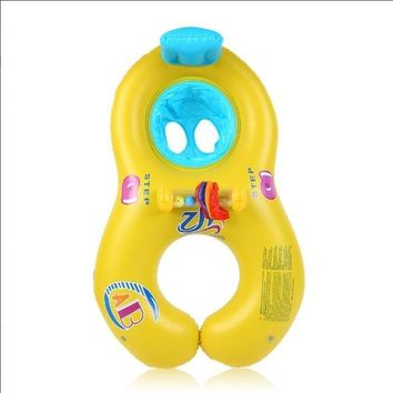Swimming Pool beach 2017 Safe Soft Inflatable Mother Baby Swim Float Ring Kids Seat Double Person Swimming Ring Safety Swimming Baby AccessoriesSwimming Pool beach KO_14_1