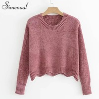 Simenual Wave hem pink cropped sweater pullover female casual autumn winter new long sleeve women sweaters and pullovers jumpers