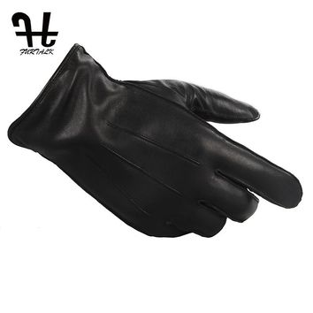 Furtalk Men Winter Russian Touch Screen Real Lamb Leather Gloves Cashmere Lining Tactical Gloves For men