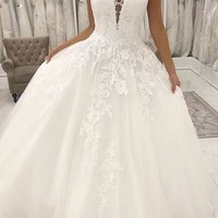 Evening Dress White Tulle V Neck Long Prom Dress Custom