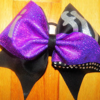 I fly purple and rhinestone cheer bow by TonTonsBowtique on Etsy