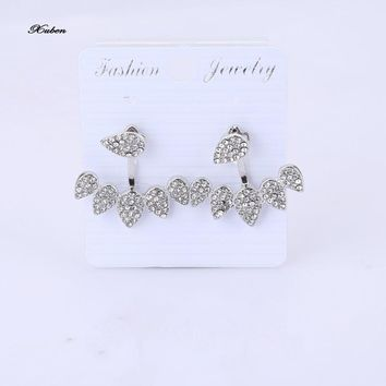 New  Crystal Front Back Double Sided Stud Earrings For Women