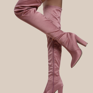 Point Toe Satin Thigh High Boots BLUSH | MakeMeChic.COM