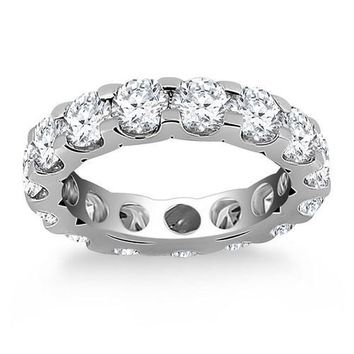 14K White Gold Round Diamond Studded Eternity Ring, size 8
