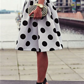 White Polka Dot Skater Skirt - Choies.com