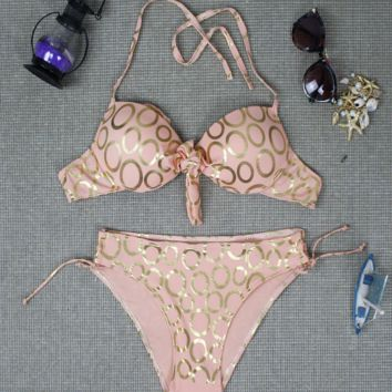 Fashion Circle Of Love Print Two Piece Bandage swimsuit Bikini Bathing Suits BK15043