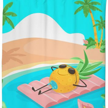 ROsC Pineapple Beach Shower Curtain
