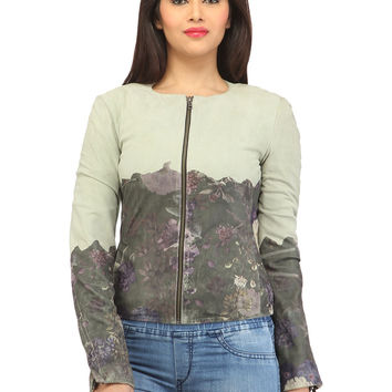 Women Designer Ombre Printed Leather Suede jacket