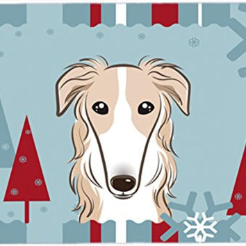 "Caroline's Treasures BB1724CMT Winter Holiday Borzoi Kitchen or Bath Mat, 20 by 30"", Multicolor"