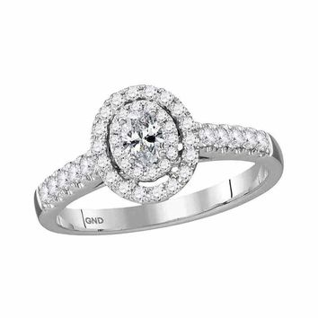 14kt White Gold Womens Oval Diamond Solitaire Halo Bridal Wedding Engagement Ring 1-2 Cttw