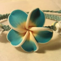 Sky Blue, White, and Yellow Plumeria Bracelet with Dyed Sky Blue Hemp