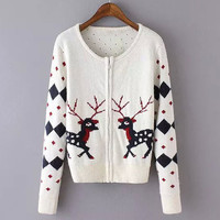 White Deer Pattern Knitted Long Sleeve Cardigan
