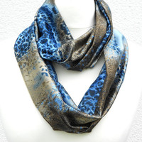Blue Animal Scarf Grey blue and Brown Leopard Infinity Scarf