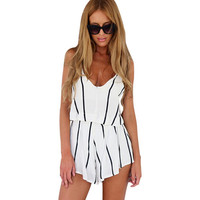 Summer Jumpsuit Women Mono V Neck White Jumpsuit For Women Striped Rompers Sexy Playsuits Bodycon Jumpsuit Combishort B 2016