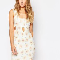 AX Paris | AX Paris Cut Out Front Dress in Textured Sunflower Print at ASOS