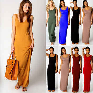 Women Cotton Stretch Casual Sundress Maxi Long Beach Slim Vest Tank Dress