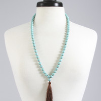 knotted turquoise tassel necklace - brown