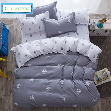 BEST.WENSD Comforter king queen kid bedclothes bed linen snowflake Cotton Bedding set sheets+duvet cover+pillowcase jogo de cama
