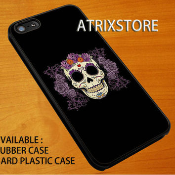 sugar skull n rose,Accessories,Case,Cell Phone,iPhone 5/5S/5C,iPhone 4/4S,Samsung Galaxy S3,Samsung Galaxy S4,Rubber,09-07-16-Rk