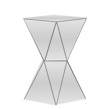 Baxton Studio Rebecca Contemporary Multi-Faceted Mirrored Side Table Set of 1