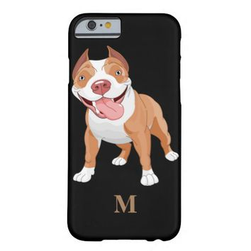 Cute Pit Bull Personalized Monogram iPhone 6 Case