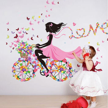 Fairies Girl Butterfly Flowers Wall Stickers Bedroom Background Wall Sticker Decals Home Decoration Wallpaper Living Mural Art