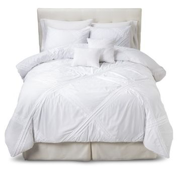 Fabiana Pleated 5 Piece Comforter Set - White
