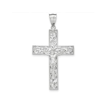 Large Sterling Silver Beaded Filigree Crucifix Cross Pendant, 50mm x 34mm