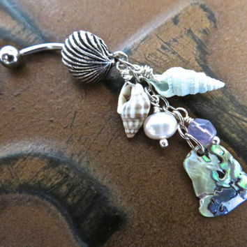 Abalone Shell Cluster Belly Button Jewelry Ring- Paua Mother of Pearl Seashell Charm Dangle Navel Piercing