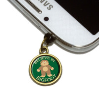 Believe In Bigfoot Sasquatch Mobile Phone Brass Charm