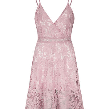 Pink Lace V Neck Ladder Cami Skater Dress