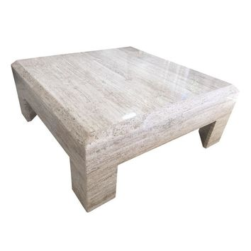 Pre-owned Travertine Coffee Cocktail Table