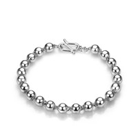 5mm or 6mm Beaded  925 Sterling Silver Bracelet