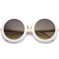 Womens Retro Bold Oversized Jackie O Round Sunglasses 56mm