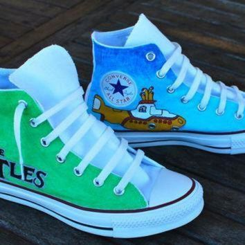 ICIKGQ8 hand painted beatles converse chuck taylor all star hi tops
