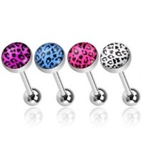 Value Pack Of Assorted Colors 316L Surgical Steel Barbells With Leopard Print Logo Ball -14G, 5/8