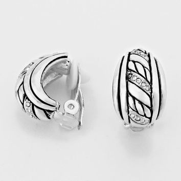 Crystal Accented Metal Clip on Earrings